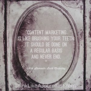 Sketch of antique mirror with content marketing quote on it from ThinkLikeAJournalist.com