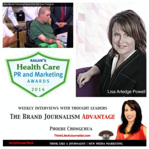 Lisa Arledge on The Brand Journalism Advantage Podcast (photo collage)