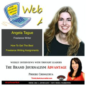 Angela Tague (headshot) interview on The Brand Journalism Advantage Podcast