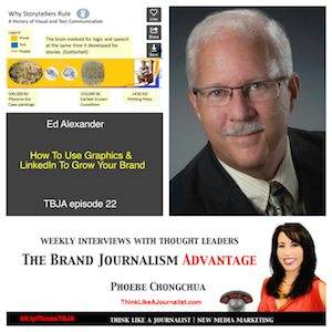 Ed Alexander collage interview on The Brand Journalism Advantage Podcast