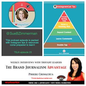 Sue B Zimmerman on The Brand Journalism Advantage Podcast (photo collage)