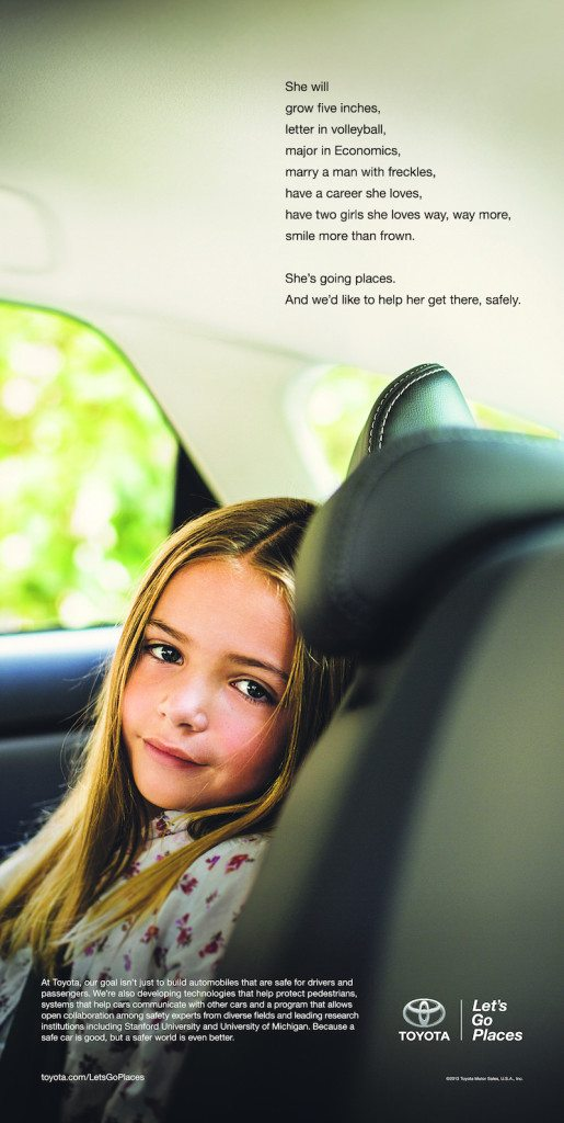 Toyota brand ad with little girl