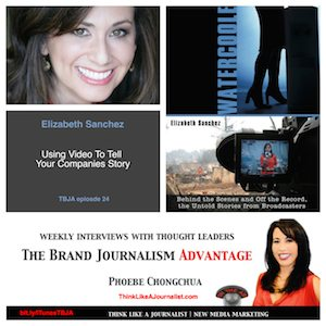 Elizabeth Sanchez on The Brand Journalism Advantage Podcast (photo collage)